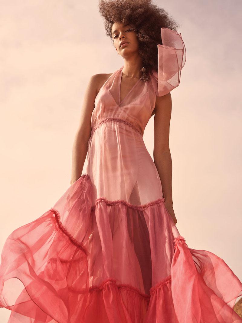 Cinq à Sept Veronique Tiered Organza Colorblock Gown