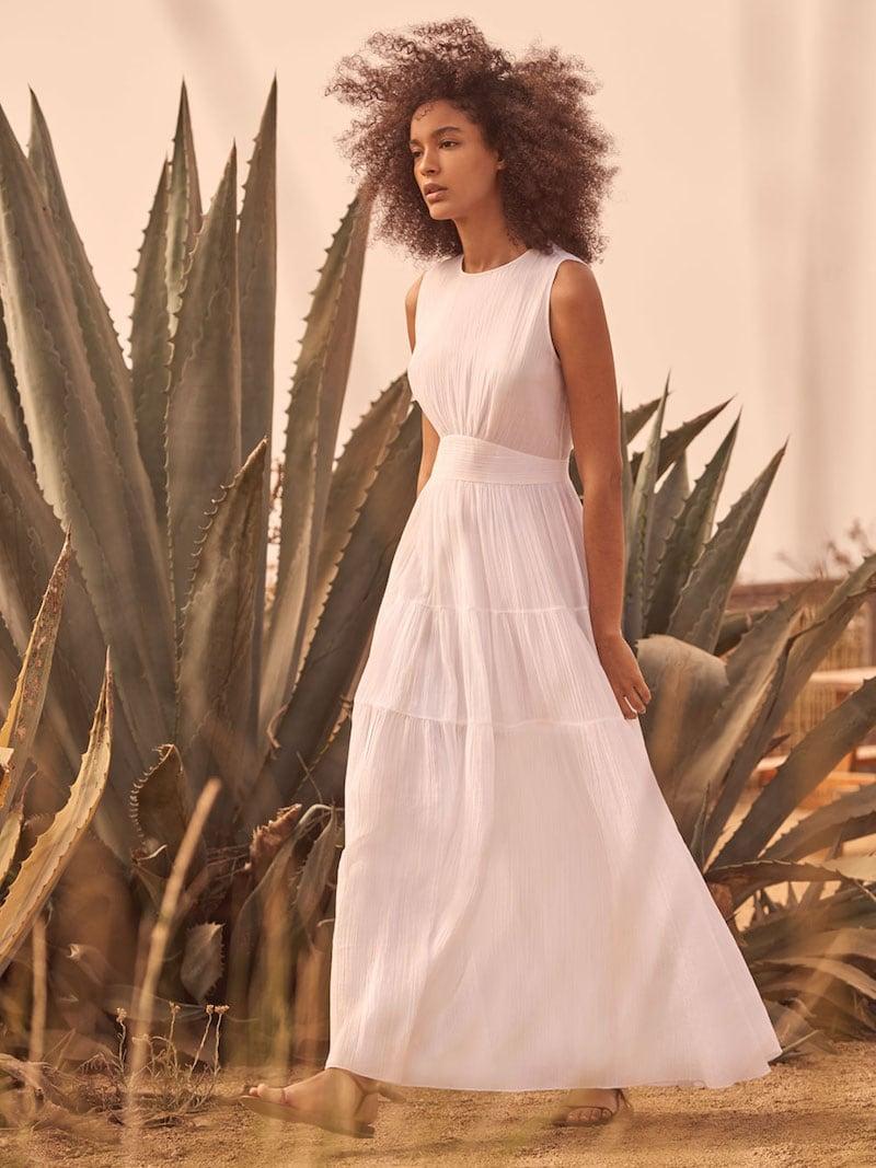 Elie Tahari Sage Sleeveless Tiered Maxi Dress