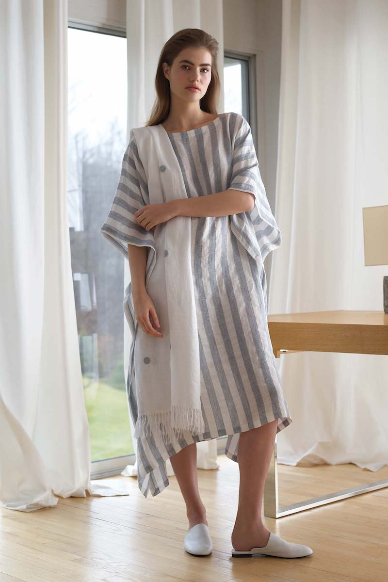 Eskandar Striped Linen Kaftan Dress
