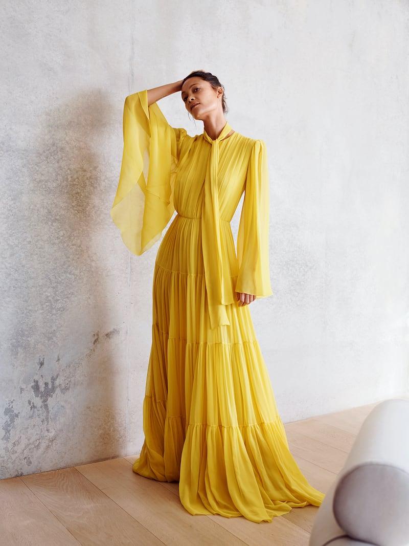 Giambattista Valli Pussy-Bow Tiered Pintucked Silk-Georgette Gown