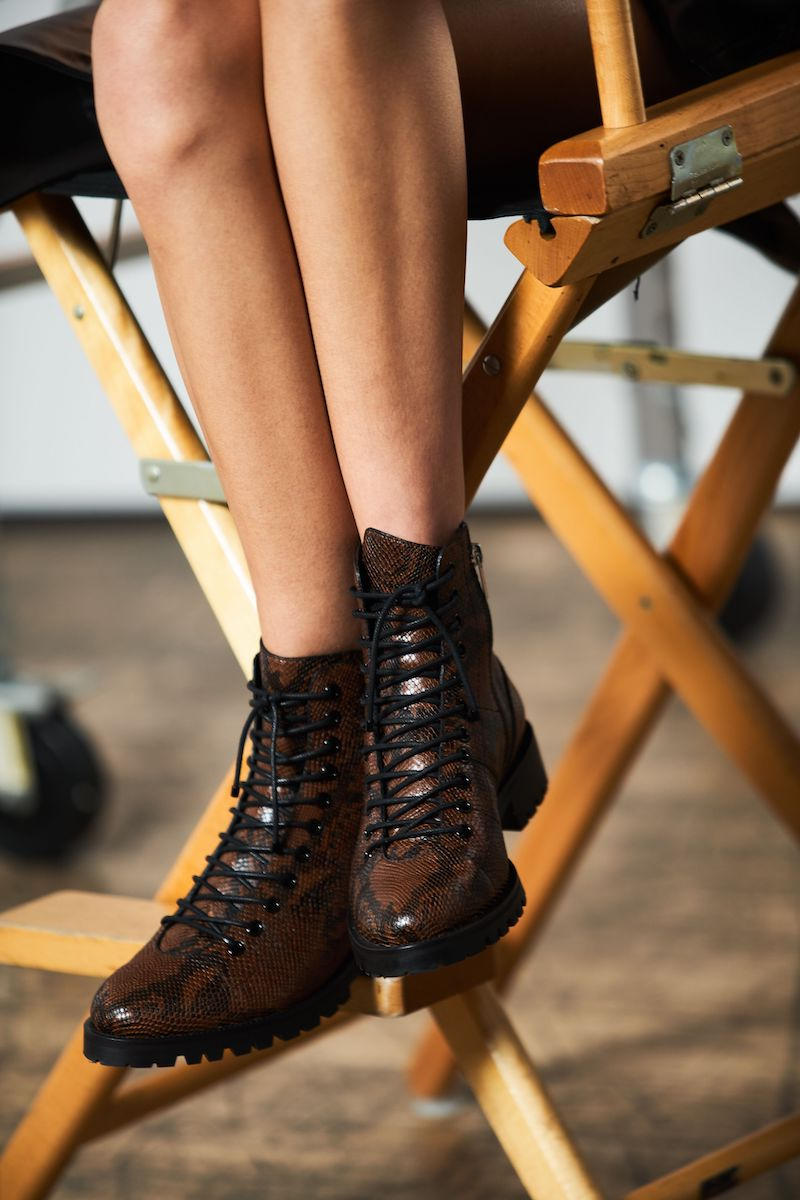 JIMMY CHOO and KAIA K-CRUZ FLAT Cocoa Snake-Printed Leather Flat Boots