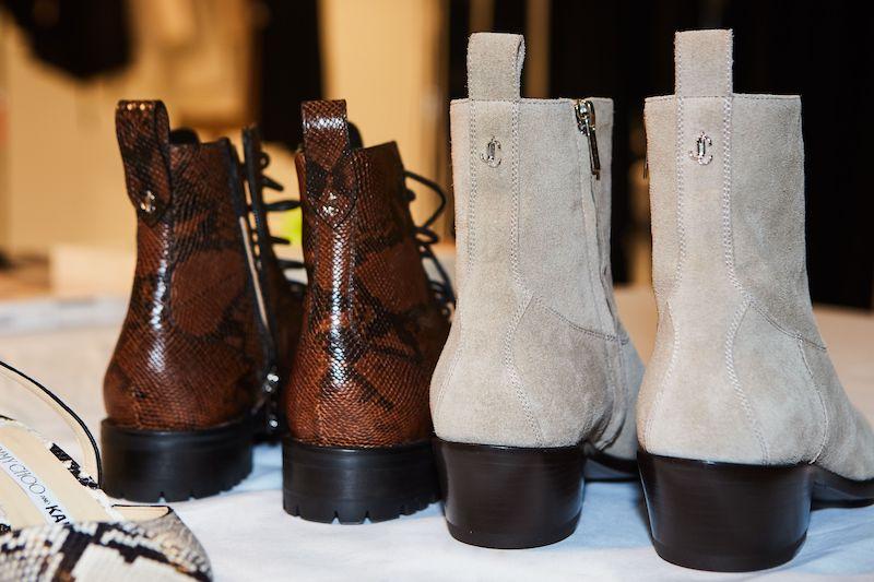 JIMMY CHOO and KAIA K-JESSE Stone Soft Suede Cowboy Boots