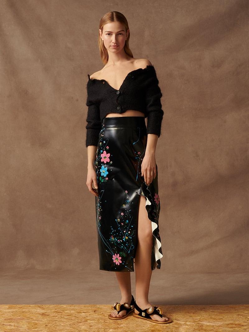 Miu Miu Ruffled Painted Faux Patent-Leather Midi Skirt