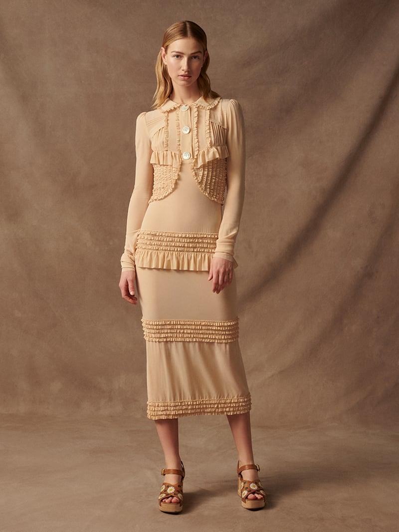 Miu Miu Ruffled Stretch-Silk Crepe De Chine Midi Dress