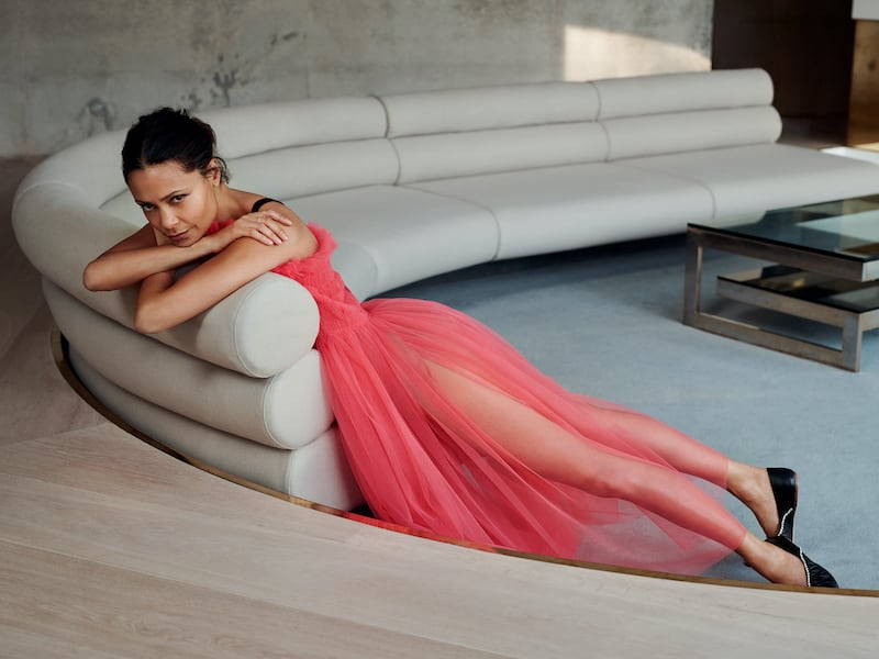 Molly Goddard Grosgrain-Trimmed Shirred Tulle Midi Dress