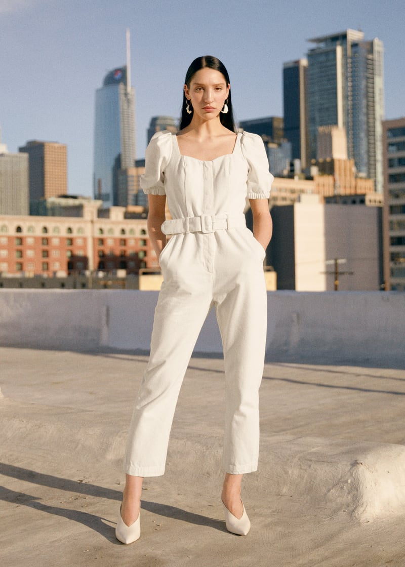 & Other Stories Belted Puff Sleeve Jumpsuit