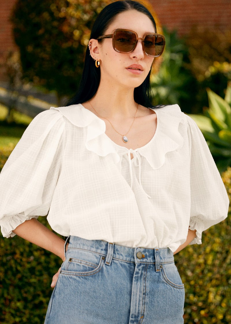 & Other Stories Frilled Puff Sleeve Top