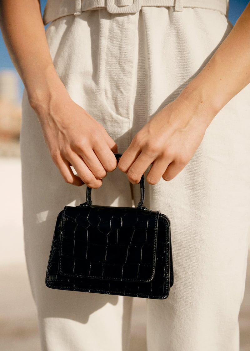 & Other Stories Leather Croc Square Crossbody Bag