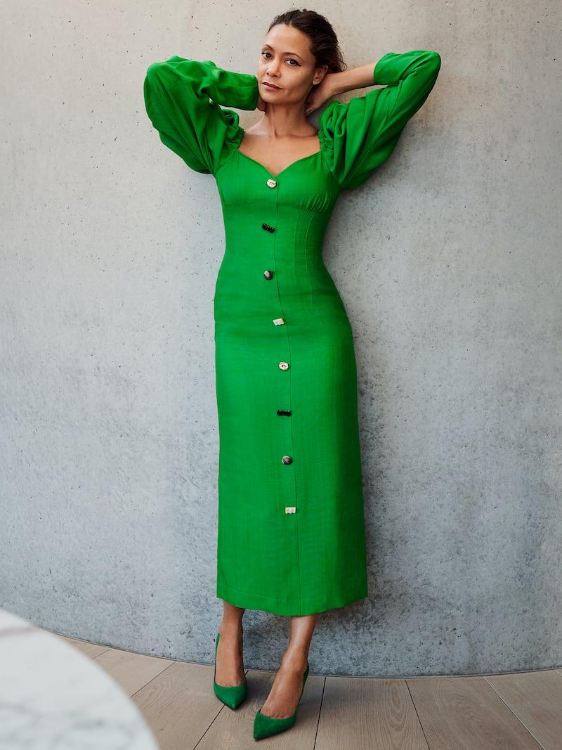 REJINA PYO Betty Button-Embellished Satin-Jacquard Midi Dress