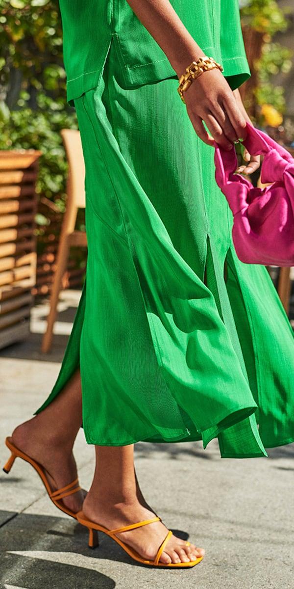 REJINA PYO Lynn Paneled Satin-Jacquard Midi Skirt