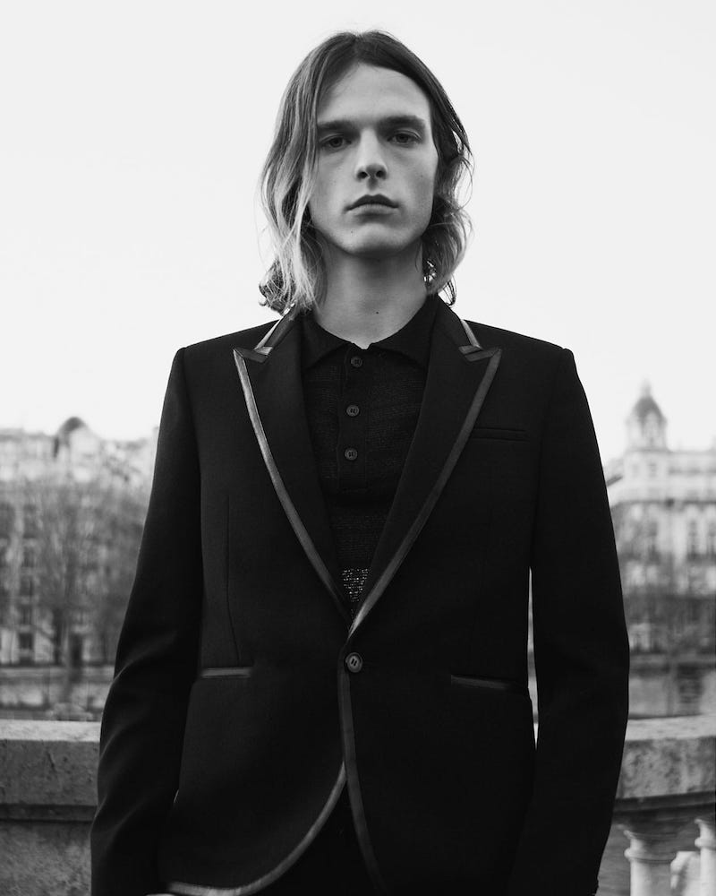 Saint Laurent Leather-Trimmed Single-Breasted Wool Blazer