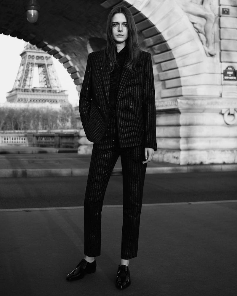 Saint Laurent Sequinned bouclé Tailored Trousers