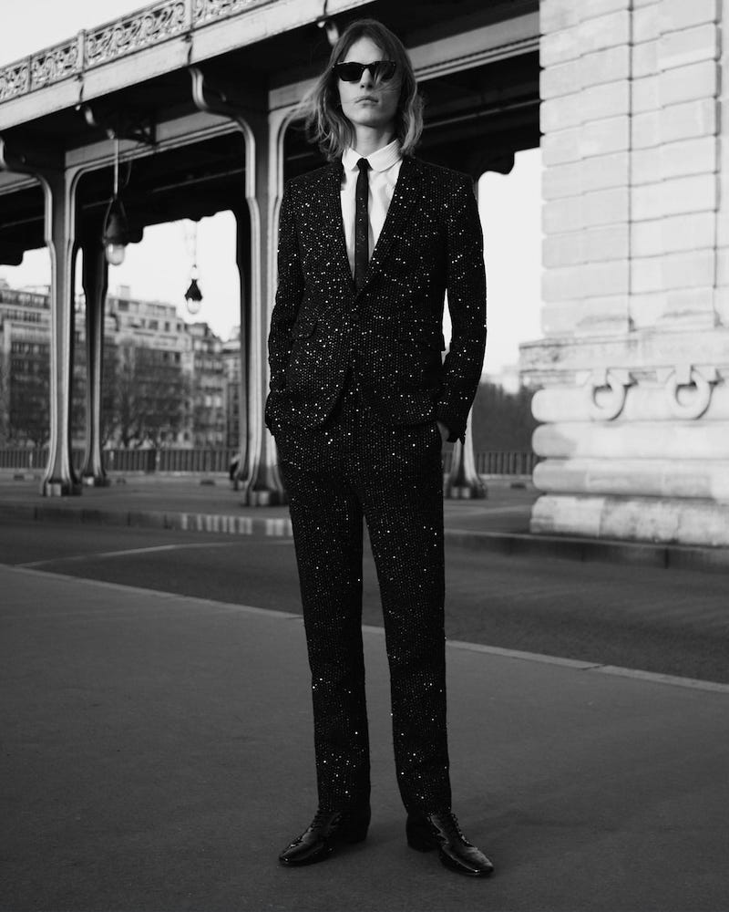 Saint Laurent Single-Breasted Sequinned-bouclé Blazer