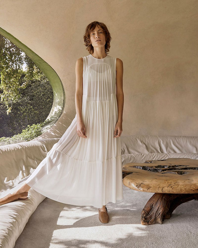 Vince Shirred Sleeveless Tiered Dress