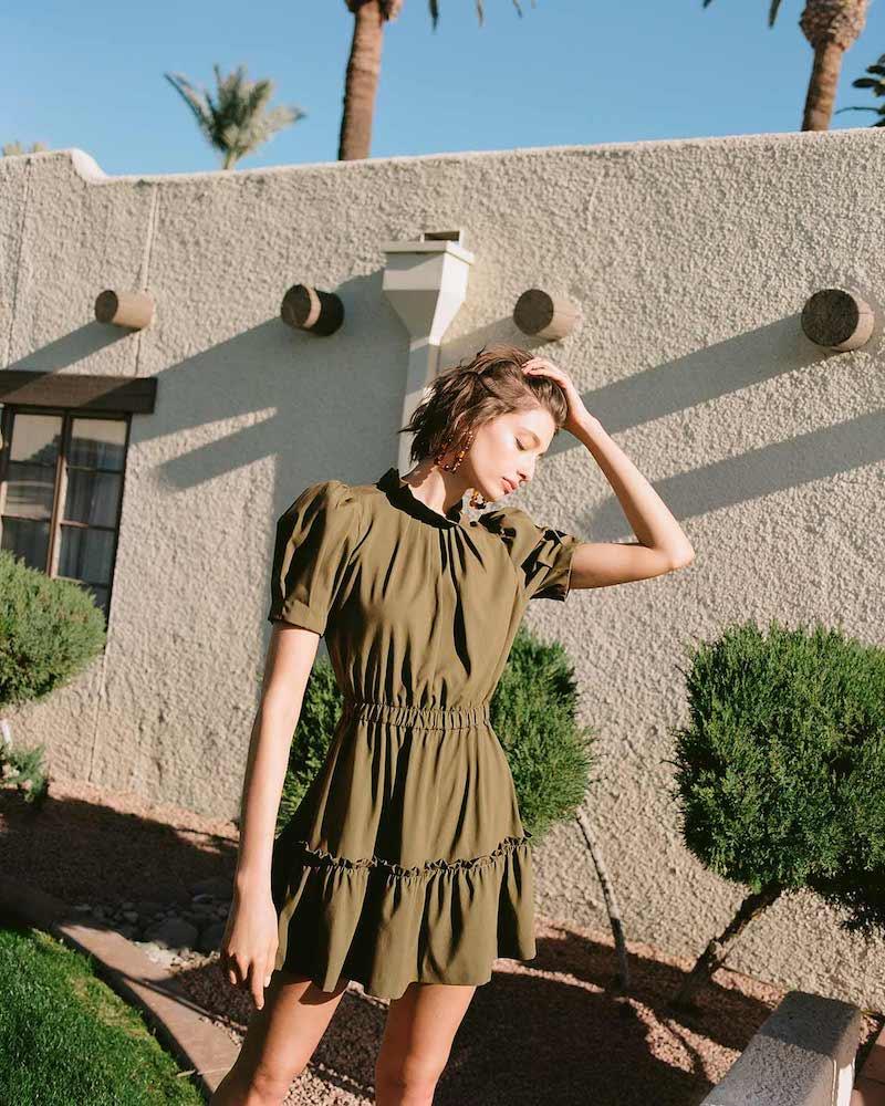 alice + olivia Vida Puff Sleeve Ruffle Dress