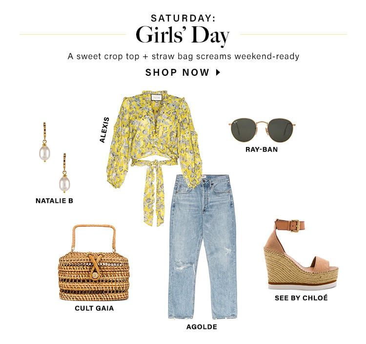 Saturday: Girls' Day. A sweet crop top + straw bag screams weekend-ready. SHOP NOW
