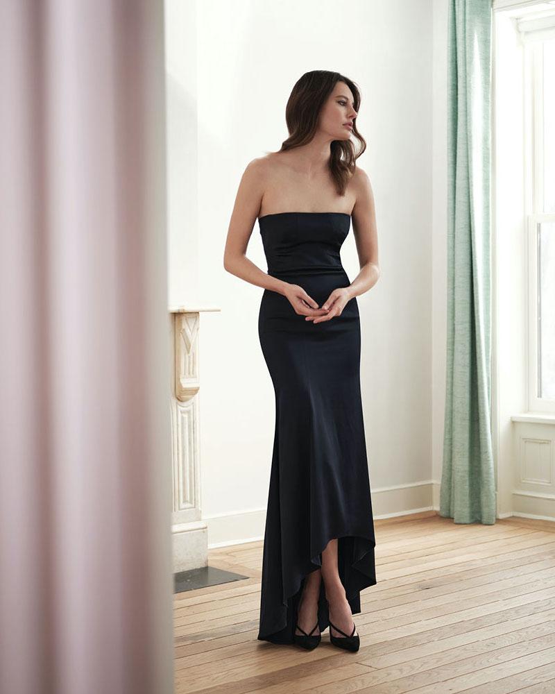Akris Stretch Silk Strapless High-Low Dress