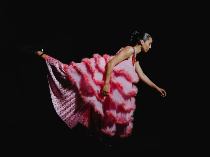 Ashley Williams Pink Feathers Cake Dress,