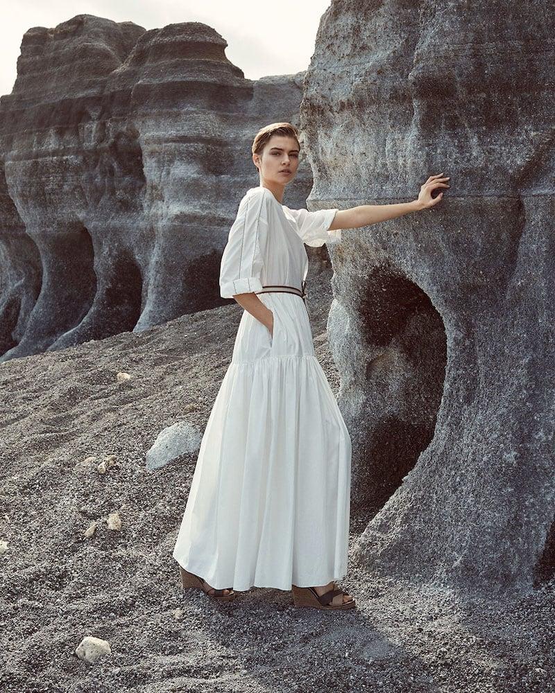 Brunello Cucinelli Monili-Beaded Tiered Prairie Dress