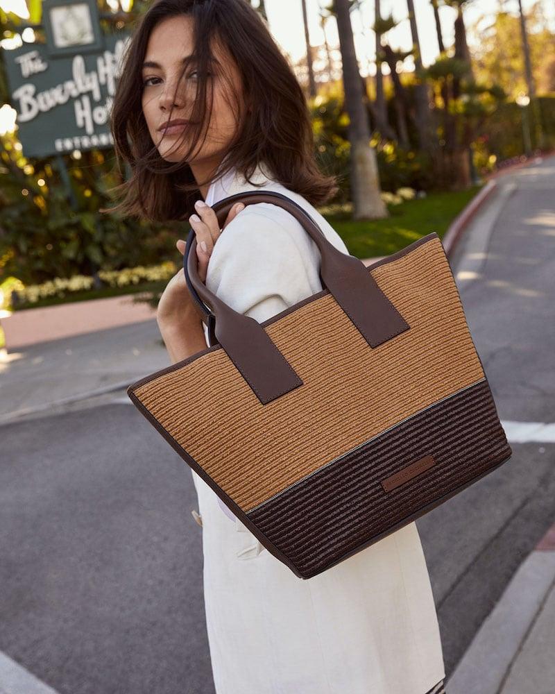 Brunello Cucinelli Raffia & Leather Tote Bag