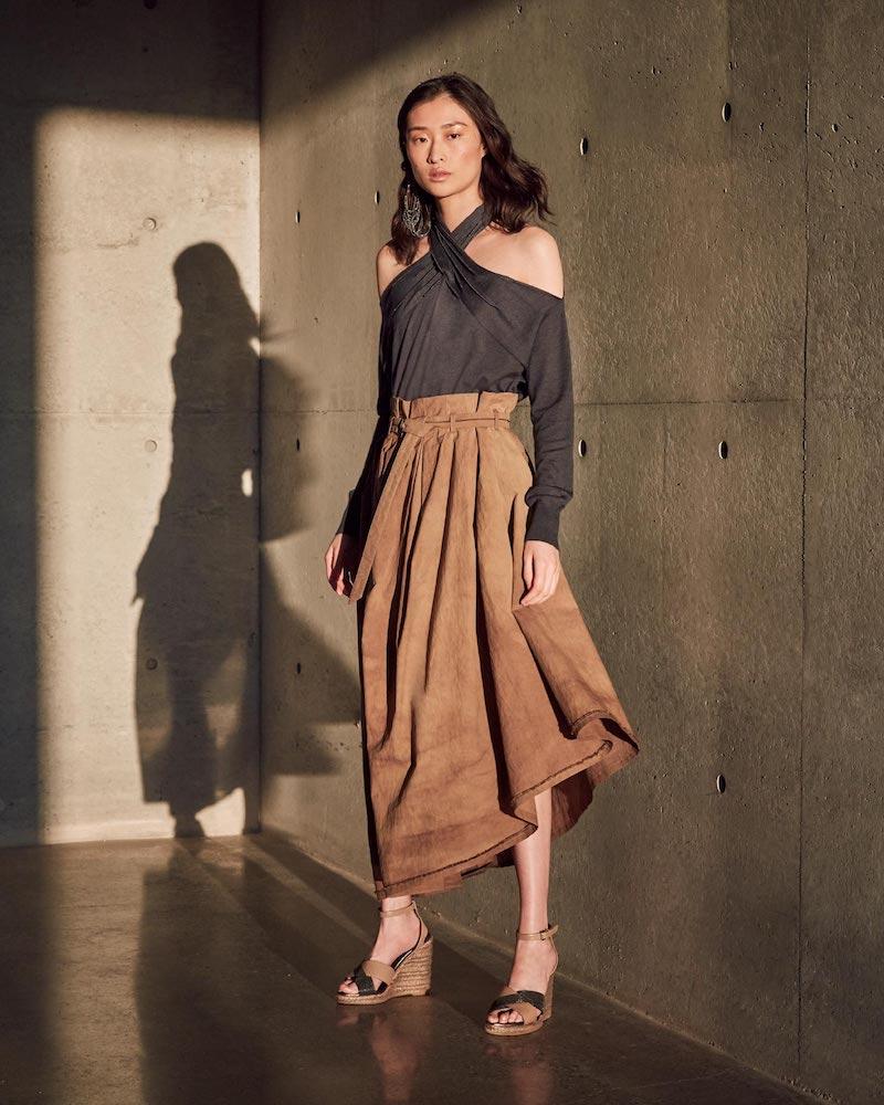 Brunello Cucinelli Tie-Dyed Belted Asymmetric Midi Skirt