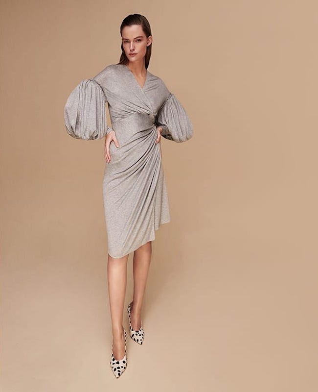 Burberry Draped-Front Balloon-Sleeve Jersey Dress