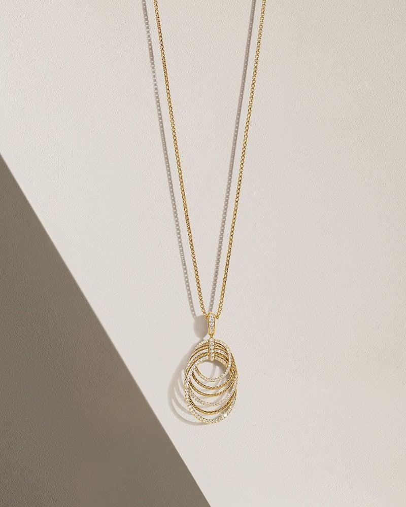 David Yurman Origami 18k Pendant Necklace W: Diamonds