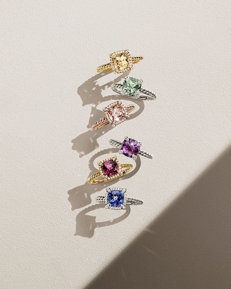 David Yurman Petite Chatelaine Pave Bezel Ring
