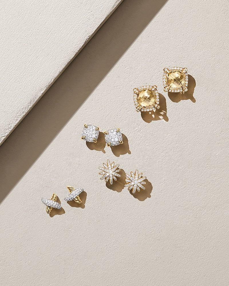 David Yurman Starburst 18k Yellow Gold Diamond Pave Small Stud Earrings