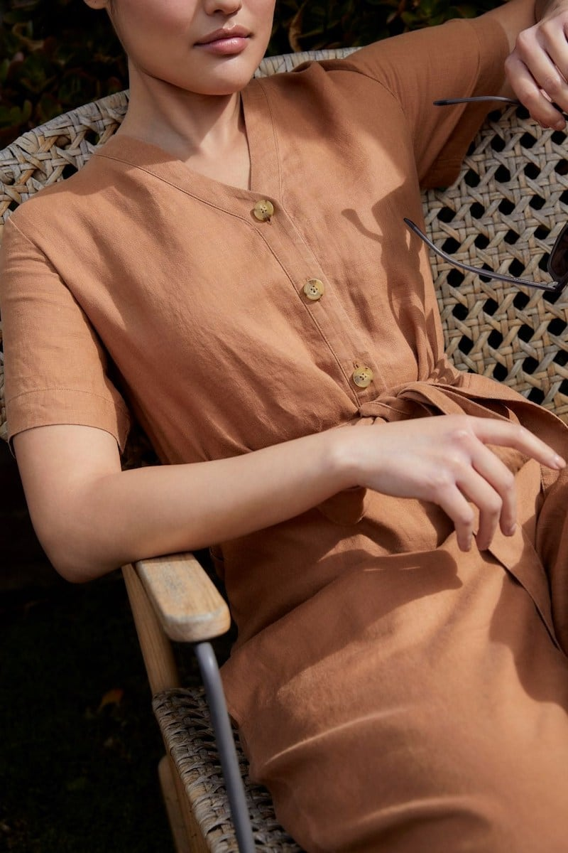 Everlane Linen Short-Sleeve Jumpsuit