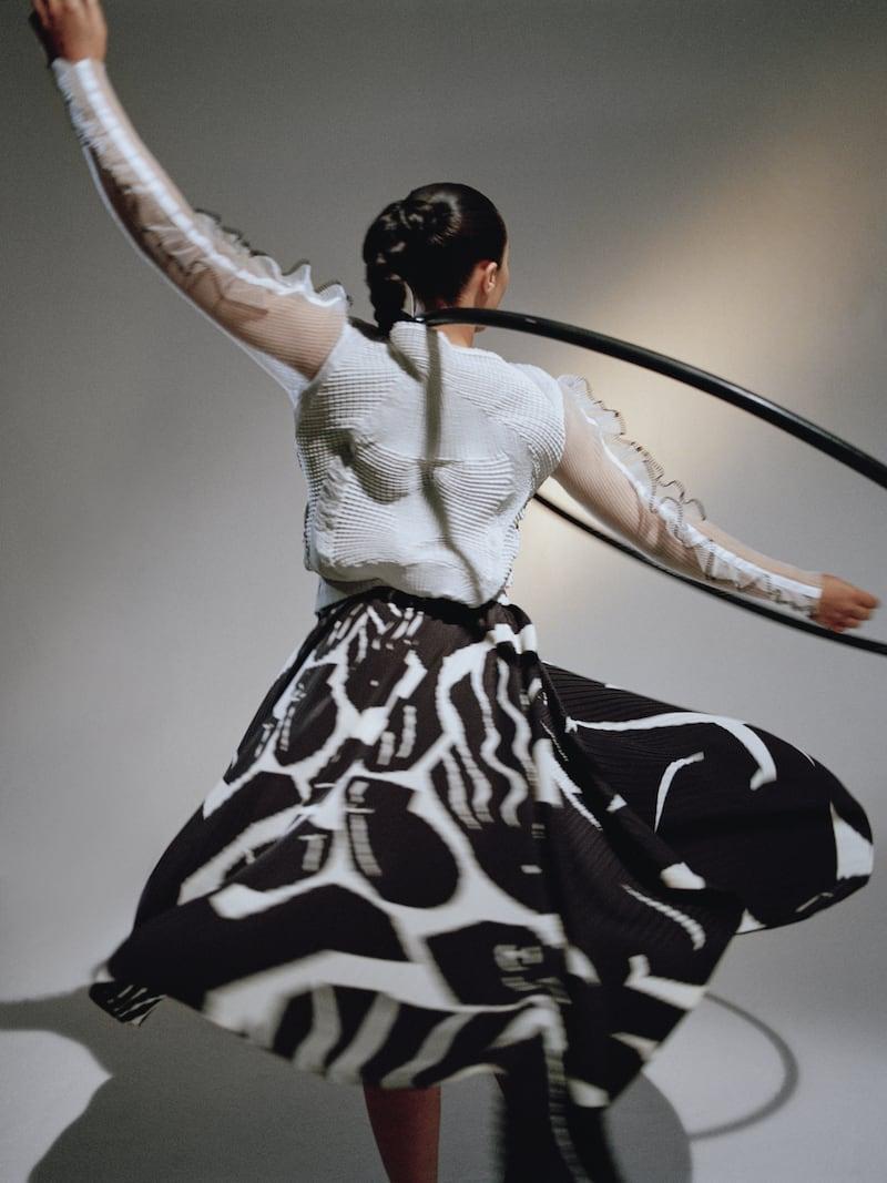Issey Miyake Black & White Cuddle Pleats Dress