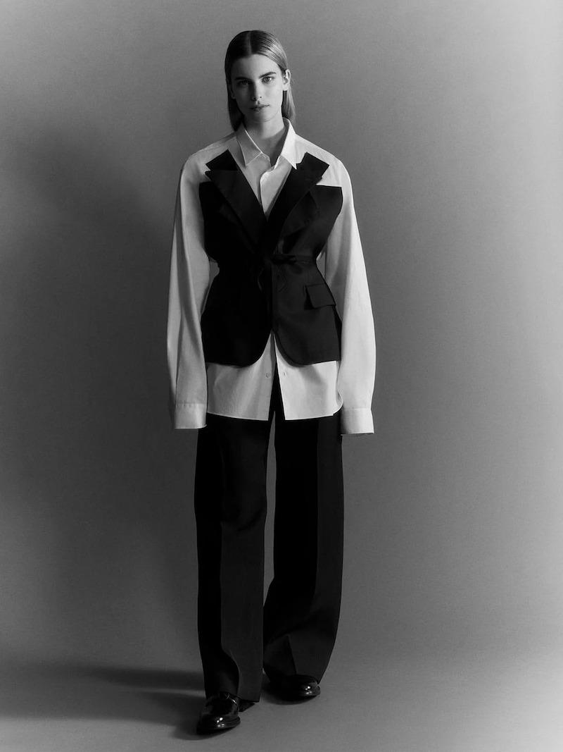 Junya Watanabe Blazer-Overlay Cotton-Poplin Shirt