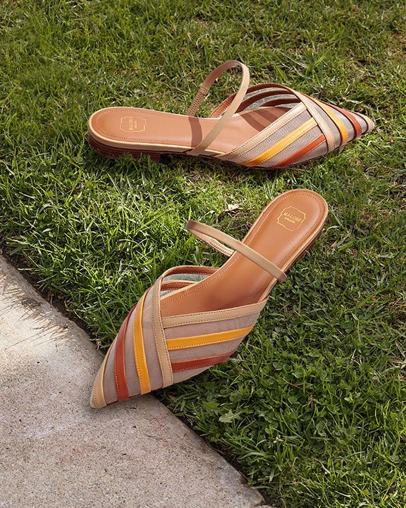 Malone Souliers Paulina Colorblock Stripe Leather Mesh Flat Mules