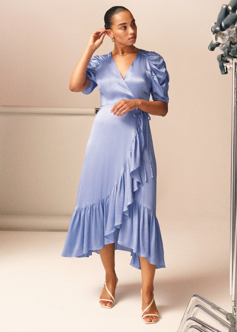 & Other Stories Puff Sleeve Wrap Midi Dress