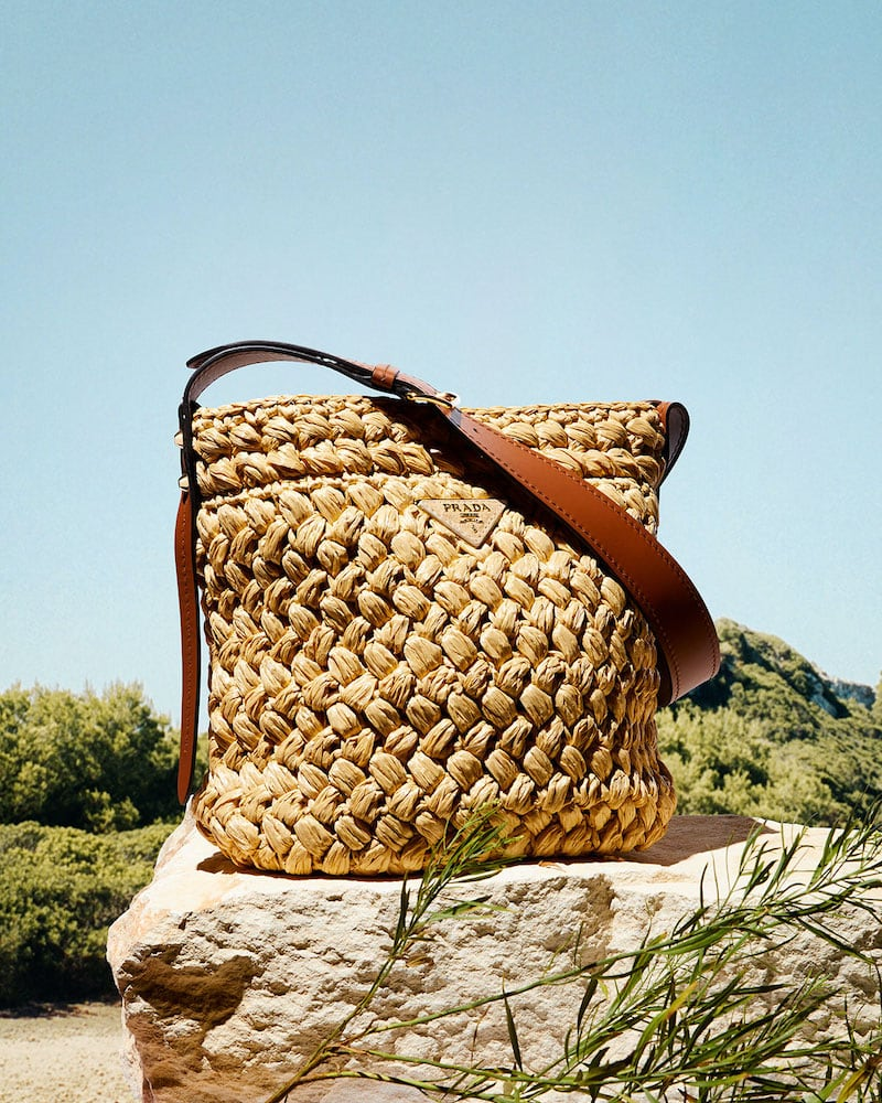 Prada Raffia Woven Bucket Bag