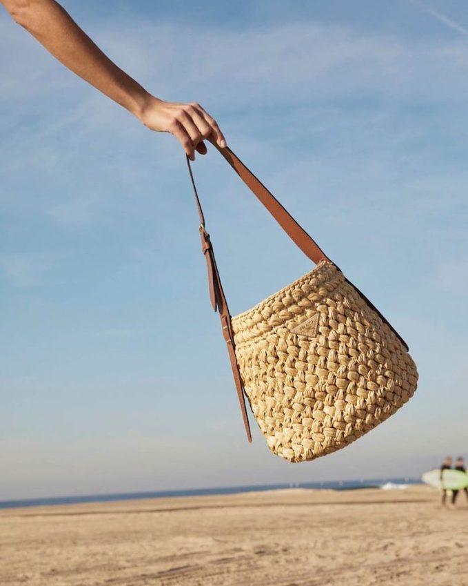 Prada Raffia Woven Bucket Bag 1