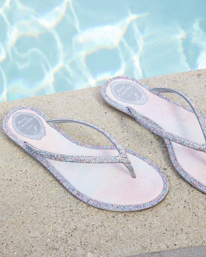 Rene Caovilla Beaded Flat Tie-Dye Thong Sandals