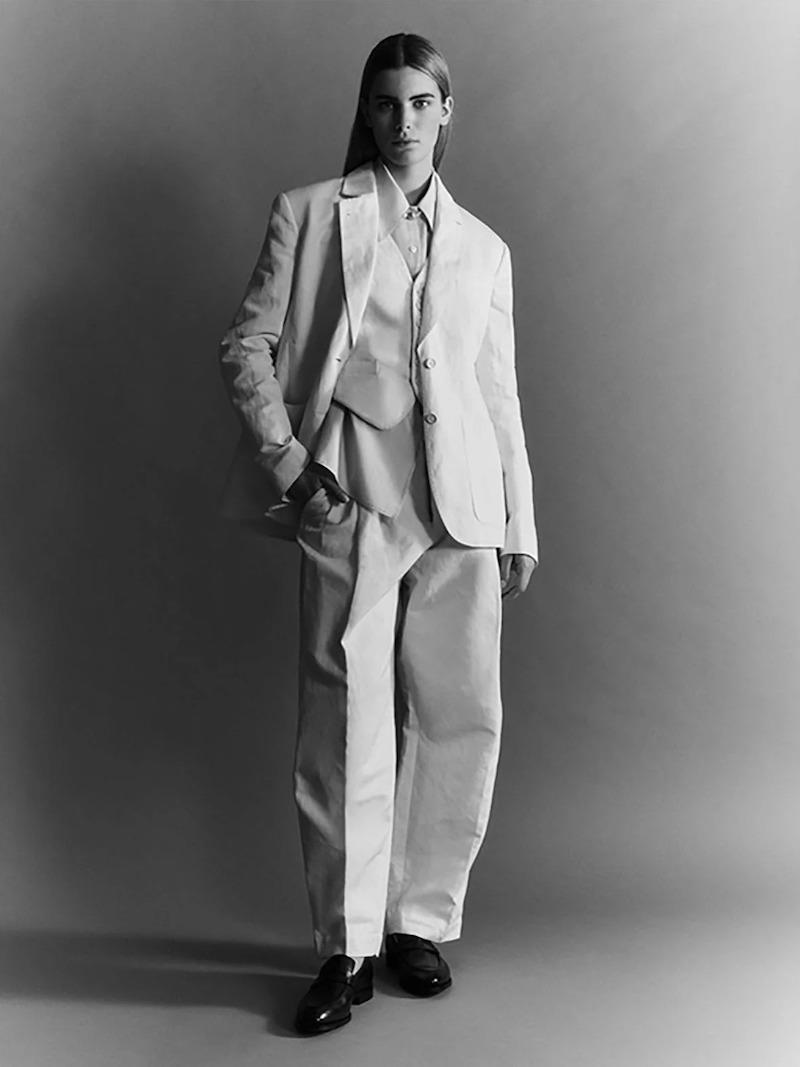 Zanini Single-Breasted Back-Bow Cotton-Blend Jacket