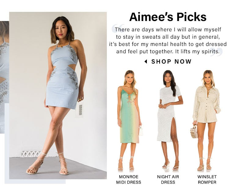 "Aimee's Picks. ""There are days where I will allow myself to stay in sweats all day but in general, it's best for my mental health to get dressed and feel put together. It lifts my spirits."" SHOP NOW"