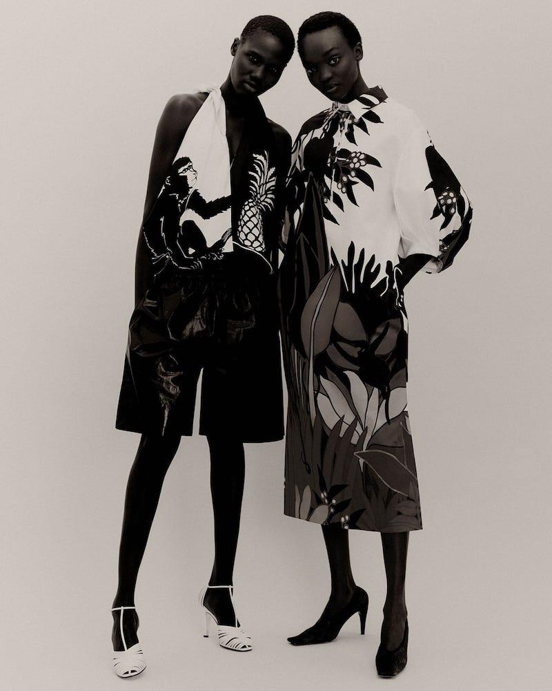 Bottega Veneta Monkey-Print Halterneck Silk Top