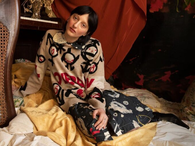 Charles Jeffrey LOVERBOY Asteroid-Print Cotton Midi Dress