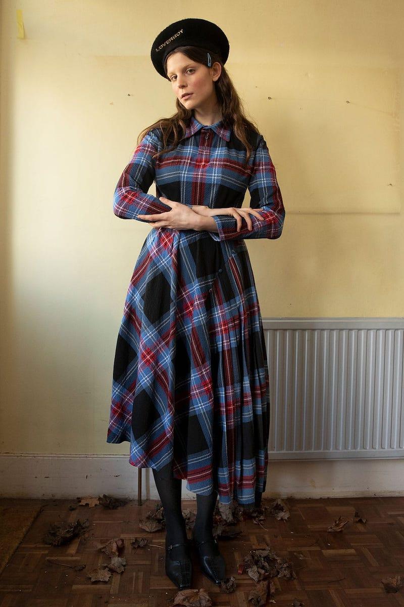 Charles Jeffrey LOVERBOY Asymmetric Pleated Tartan-Seersucker Midi Dress
