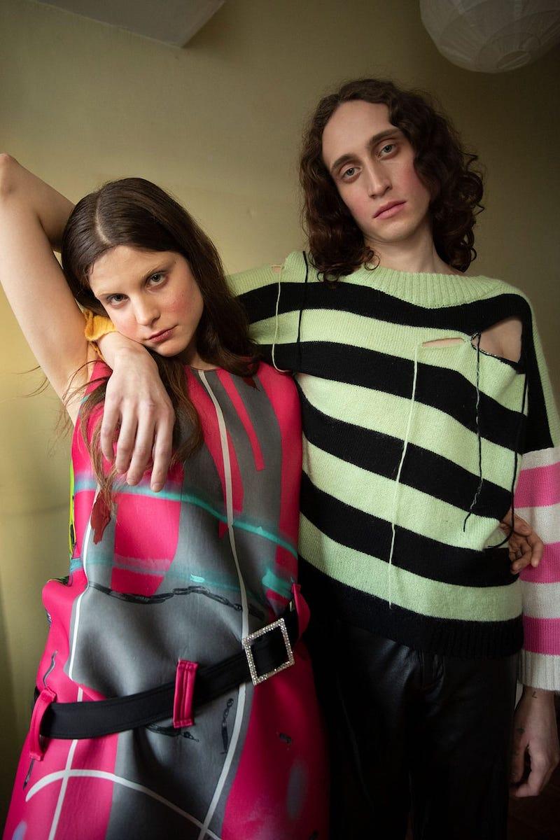 Charles Jeffrey LOVERBOY Gogo Painted-Neoprene Dress