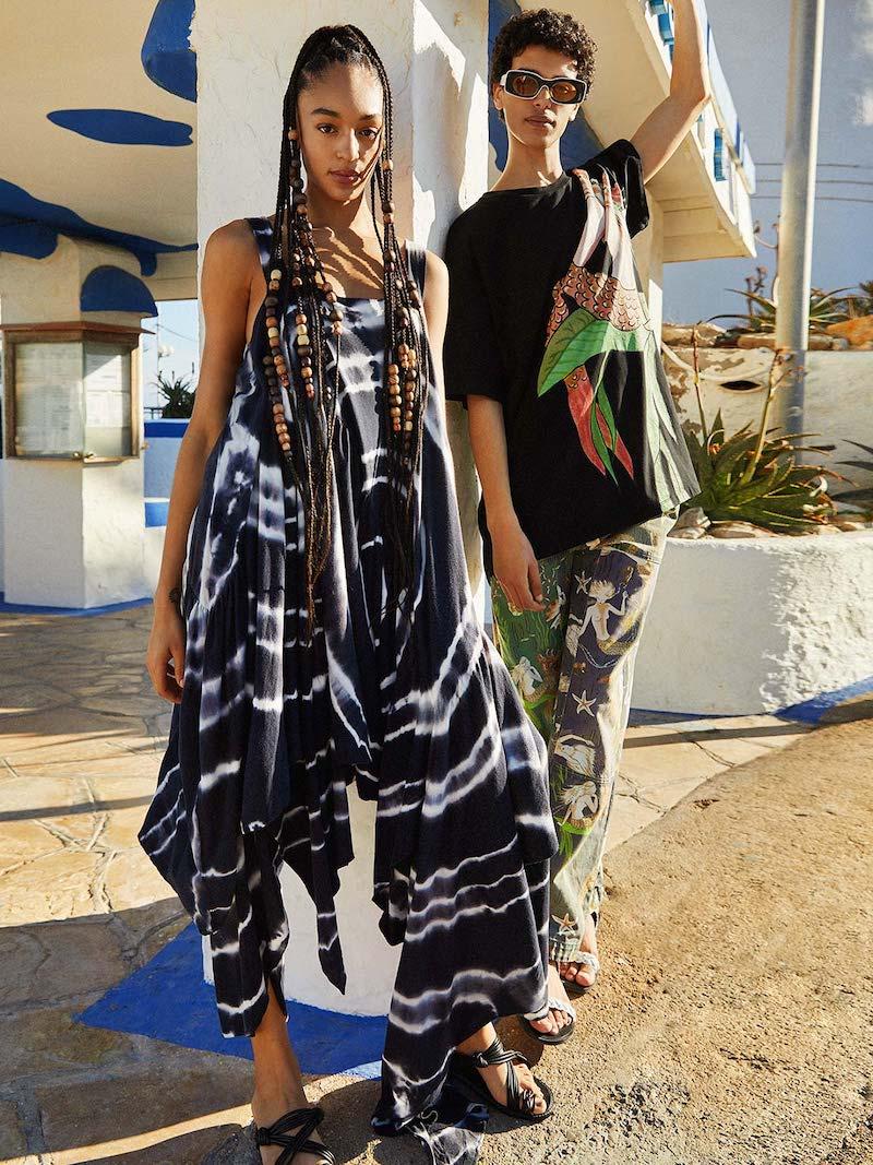 Loewe Paula's Ibiza Asymmetric Tie-Dye Jersey Dress