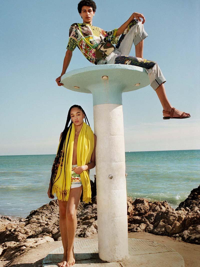 Loewe Paula's Ibiza Frayed-Hem Patched Denim Shorts