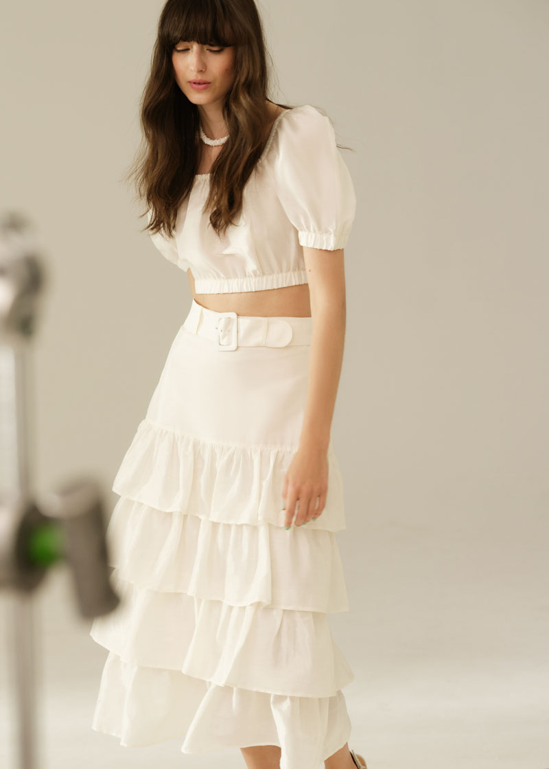 & Other Stories Belted Ruffle Midi Skirt