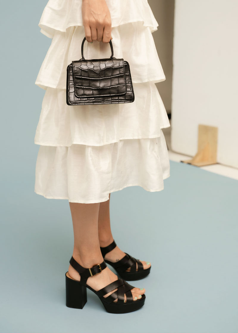 & Other Stories Croc Embossed Mini Leather Bag