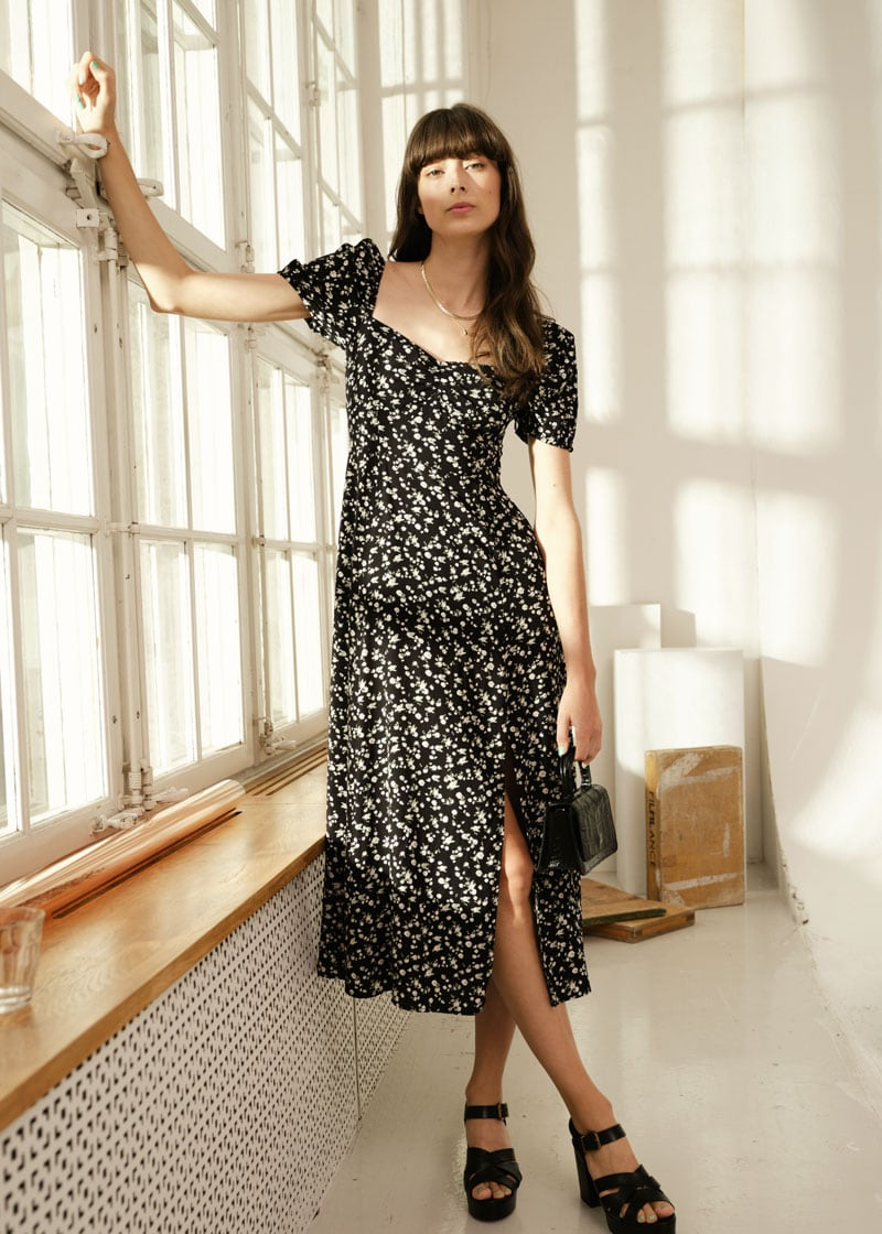 & Other Stories Flowy Puff Sleeve Midi Dress