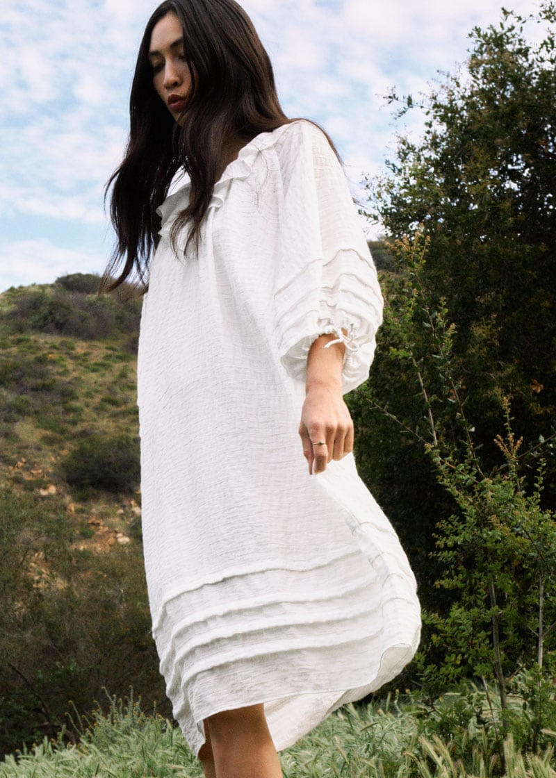 & Other Stories Oversized V-Neck Ruffle Midi Dress