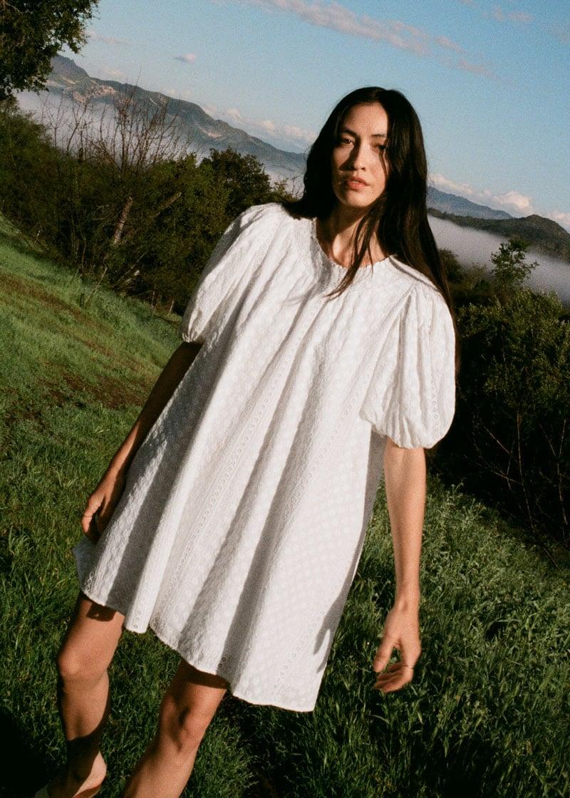 & Other Stories Voluminous Floral Smock Mini Dress